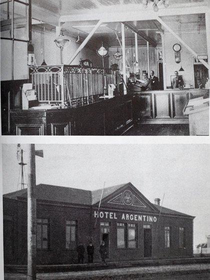 Interior del Banco de Tarapacá, asaltado en 1905 (arriba) y el hotel donde se alojó la Pandilla Salvaje en Río Gallegos (abajo)