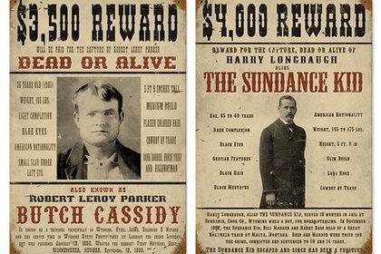 Butch Cassidy y Sundance Kid, el aviso de búsqueda