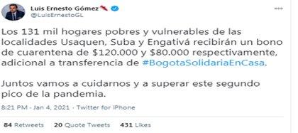 """Anuncio de """"Bono de cuarentena"""" emitido por Alcalde (e) Luis Ernesto Gómez. Crédito Twitter: @LuisErnestoGL"""
