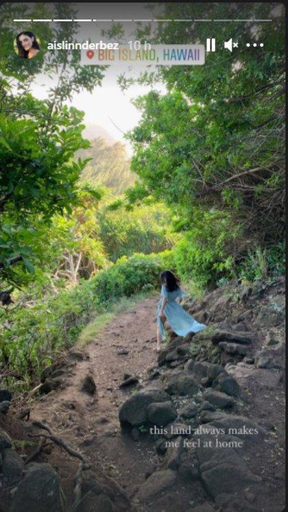 La actriz compartió múltiples historias donde se ve mar abierto y parajes boscosos (Foto: Instagram @aislinnderbez)