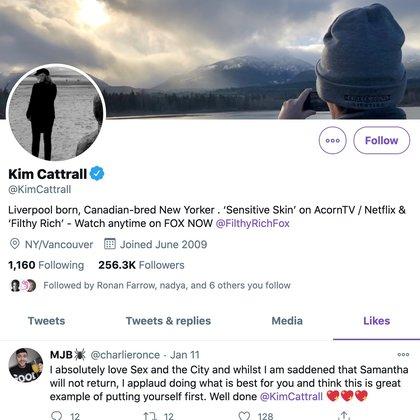Kim Cattrall Twitter (Captura de pantalla)