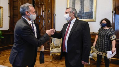 López-Gatell se reunió este jueves con el presidente de Argentina, Alberto Fernández (Foto: Twitter/partelp1)