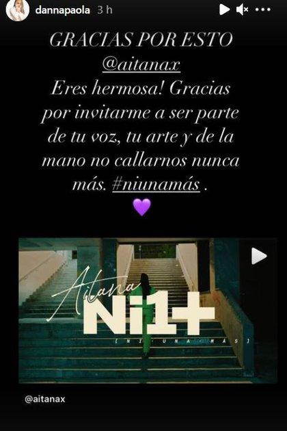 Danna Paola reaccionó en redes sociales y agradeció a Aitana, con quien también colaboró en el sencillo Friend de semana, con un breve mensaje. FOTO: Instagram/@dannapaola