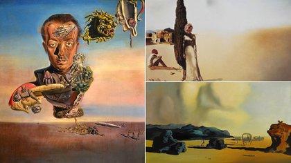 """Las obras subastadas en los últimos años. """"Retrato de Paul Eluard"""" (1929), y """"Primavera necrofílica (1936), arriba"""", y """"Momento de transición"""" (1934), abajo"""