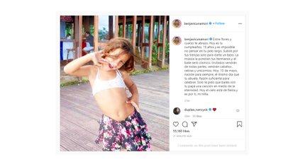 El posteo de Benjamín para el cumpleaños de su hija