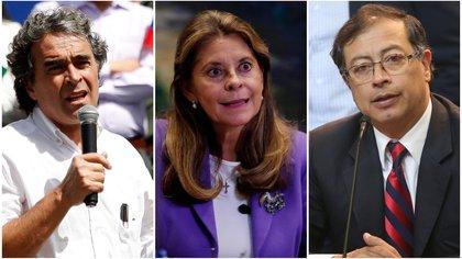 Sergio Fajardo (izq.), Marta Lucía Ramírez (cen.) y Gustavo Petro (der.). Foto: archivo.