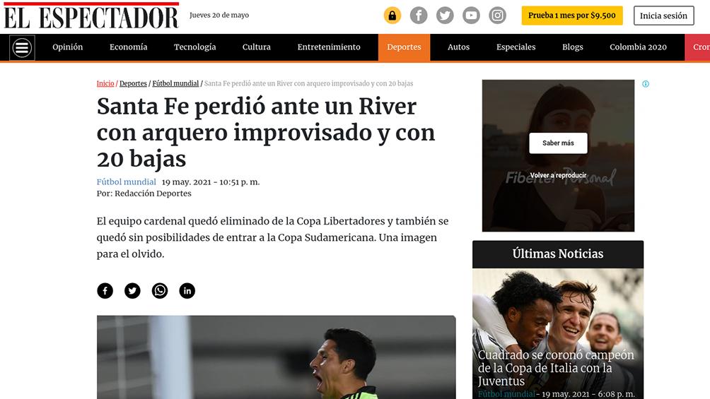 Los medios de Colombia no tuvieron piedad con Independiente Santa Fe.