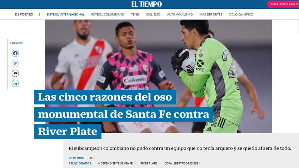 La hazaña de River fue resaltada por la prensa de Colombia.