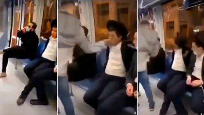 Escenas del video en el que chicos palestinos agreden a jóvenes ortodoxos judíos, que después subieron a la red TikTok