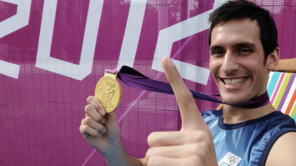 Crismanich y su medalla de oro en taekwondo en Londres 2012.