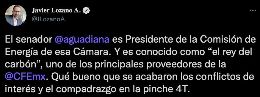 Javier Lozano atacó al senador morenista (Foto: Twitter/@JLozanoA)